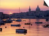 Sunrise over Msida Creek to Valletta with Dome of Carmelite Church, Valletta, Malta, Mediterranean, Posters by Stuart Black