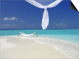 Hammock Hanging in Shallow Clear Water, the Maldives, Indian Ocean, Asia Print by Sakis Papadopoulos