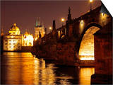 Charles Bridge over the River Vltava at Night, UNESCO World Heritage Site, Prague, Czech Republic,  Art by Hans-Peter Merten