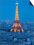 Illuminated Eiffel Tower, Viewed over Rooftops, Paris, France, Europe Poster by Gavin Hellier