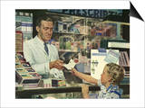 Pharmacist at Counter, 1946 Prints