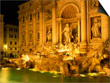 Trevi Fountain Illuminated at Night in Rome, Lazio, Italy, Europe Art by Nigel Francis