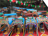 Brightly Painted Boats, Xochimilco, Trajinera, Floating Gardens, Canals, UNESCO World Heritage Site Posters by Wendy Connett