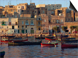 Boats Moored in Valletta Harbour at Dusk, Malta, Mediterranean, Europe Posters by Woolfitt Adam