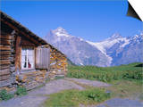 View from Grindelwald-Frist to Wetterhorn and Shreckhorn Mountains, Switzerland Print by Hans Peter Merten