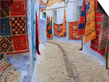 Traditional Moroccan Rugs and Fabrics on Display, Chefchaouen, Morocco, North Africa, Africa Prints by Guy Edwardes