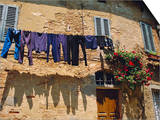 Volterra, Tuscany, Italy. Washing Hanging on a Line Prints by Fraser Hall