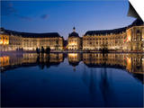 Place De La Bourse at Night, Bordeaux, Aquitaine, France, Europe Posters by Charles Bowman