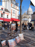 Paintings for Sale in the Place Du Tertre with Sacre Coeur Basilica in Distance, Montmartre, Paris, Posters by Martin Child