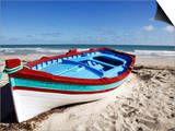 Small Boat on Tourist Beach the Mediterranean Sea, Djerba Island, Tunisia, North Africa, Africa Stampa di Dallas & John Heaton