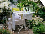 Meringues and Woodruff Punch on Romantic Garden Table Print by Friedrich Strauss