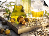 Various Oils in Carafes, Olives, Sunflower Seeds Posters by Peter Rees