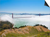 Golden Gate Bridge and the San Francisco Skyline Floating Above the Fog on a Foggy Day in San Franc Poster by Gavin Hellier