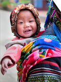 Portrait of Black Hmong Baby in Sling Attached to Mother, Sapa, Lao Cai, Vietnam, Indochina Posters by Lynn Gail