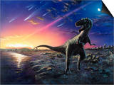 Tyrannosaurus Rex Fleeing From An Asteroid Strike Print by Chris Butler