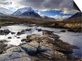 View Over River Etive Towards Snow-Capped Mountains, Rannoch Moor, Near Fort William, Scotland Print by Lee Frost