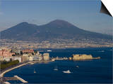 Cityscape Including Castel Dell Ovo and Mount Vesuvius, Naples, Campania, Italy, Europe Posters by Charles Bowman