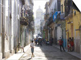 Typical Residential Street in Havana Vieja, Havana, Cuba Print by Lee Frost