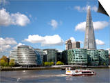 View of the Shard, City Hall and More London Along the River Thames, London, England, UK Art by Adina Tovy