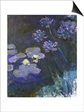 Water Lilies and Agapanthus Art by Claude Monet