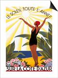 Sur la Cote d'azur Poster by Roger Broders