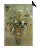 Bouquet of Flowers with Butterflies Art by Odilon Redon