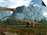 Diplodocus Dinosaurs Graze While Pterodactyls Fly Overhead Prints by  Stocktrek Images