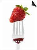A Strawberry on a Fork Print by Greg Elms