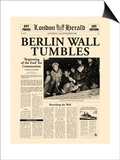 Berlin Wall Tumbles Poster by  The Vintage Collection