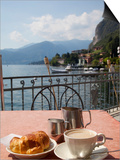 Town and Lakeside Cafe, Menaggio, Lake Como, Lombardy, Italian Lakes, Italy, Europe Art by Frank Fell