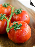 Rinsed Tomatoes with Water Droplets Print by Clara Gonzalez