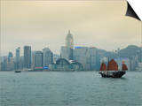 One of the Last Remaining Chinese Junk Boats Sails on Victoria Harbour, Hong Kong, China Prints by Amanda Hall
