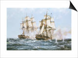 The Action Between the Java and Constitution Posters par Montague Dawson