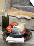 Italian Cheese, Tomatoes, Olive Oil and White Bread Prints