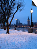 Houses of Parliament and South Bank in Winter, London, England, United Kingdom, Europe Posters by Stuart Black