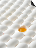 White Eggs, Lying on Their Sides, One Opened Poster by Klaus Arras
