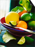 A Selection of Citrus Fruits in a Bowl Poster