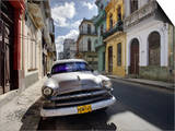 Old American Plymouth Car Parked on Deserted Street of Old Buildings, Havana Centro, Cuba Posters by Lee Frost