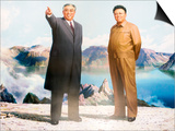 Painting of Kim Jong Il and Kim Il Sung, Pyongyang, Democratic People's Republic of Korea, N. Korea Prints by Gavin Hellier