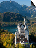 Romantic Neuschwanstein Castle and German Alps During Autumn, Southern Part of Romantic Road, Bavar Prints by Richard Nebesky