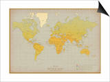 Vintage World Map Posters by  The Vintage Collection