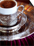 Turkish Coffee Served in Ornate Silver Cup and Dish, Turkey, Eurasia Print by Sakis Papadopoulos