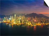 High View of the Hong Kong Island Skyline and Harbour at Sunset, Hong Kong, China, Asia Posters by Amanda Hall