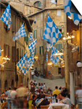 Palio Banquet for Members of the Onda (Wave) Contrada, Siena, Tuscany, Italy, Europe Art by Ruth Tomlinson