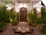 Interior Courtyard with Marble Fountain and Palm Trees, Villa Des Orangiers, Marrakech, Morocco Prints by Ellen Rooney