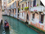 A Gondola on a Canal in Venice, UNESCO World Heritage Site. Veneto, Italy, Europe Poster by Amanda Hall