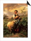 La jeune bergère Affiches par Johann Baptist Hofner