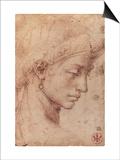 Testa Femminile di Profilo Prints by  Michelangelo Buonarroti