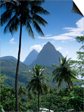 The Pitons, St. Lucia, Windward Islands, West Indies, Caribbean, Central America Prints