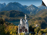 Romantic Neuschwanstein Castle and German Alps in Autumn, Southern Part of Romantic Road, Bavaria,  Print by Richard Nebesky